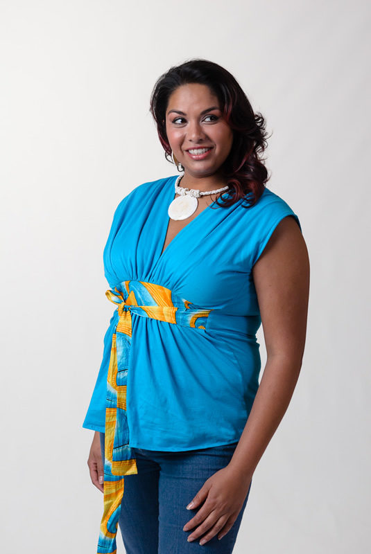 Authentic African Style Blouse - OneMama Action Hero Blouse with Attached African Print Tie