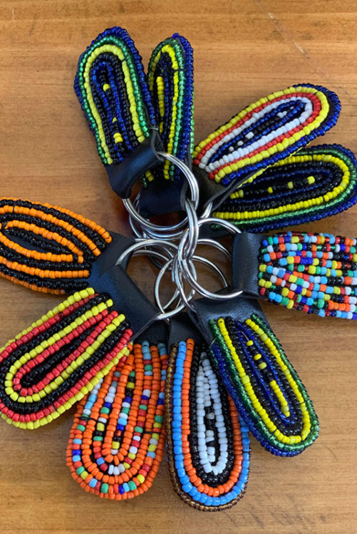 African Colors - Beaded Keychain Ring