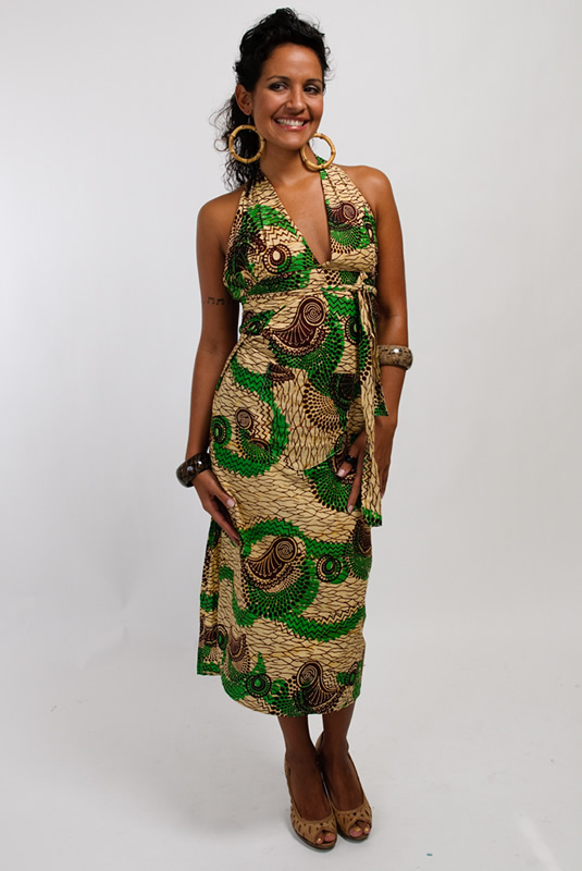 African Print Halter Dress - Tea Length